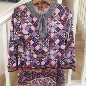 Tory Burch silk beaded pattern tunic